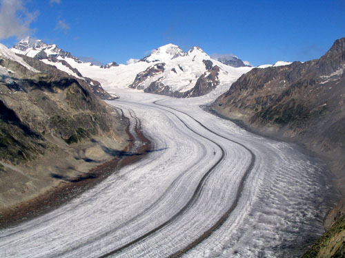 The Aletsch Glacier, the largest glacier of the Alps, in Switzerland