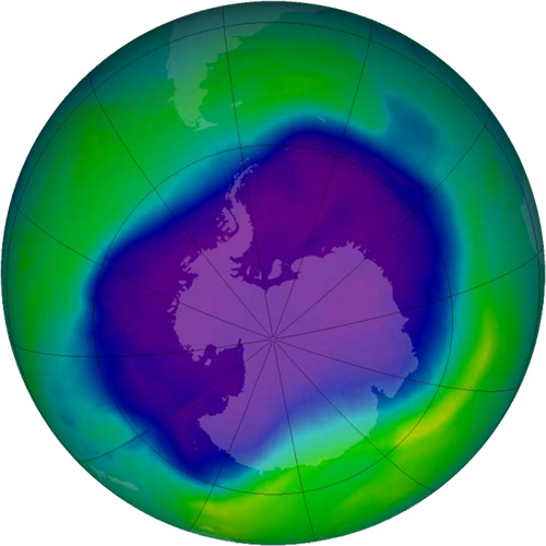 The largest Antarctic ozone hole ever recorded was in 2006