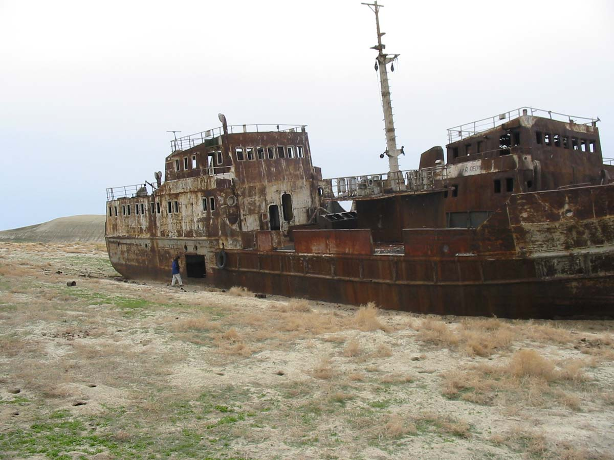 Abandoned ship in the former Aral Sea in Kazakhstan