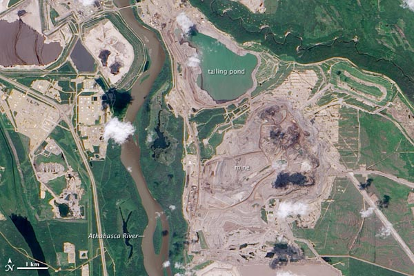 The Athabasca oil sands cause a great deal of environmental destruction which can be seen from space