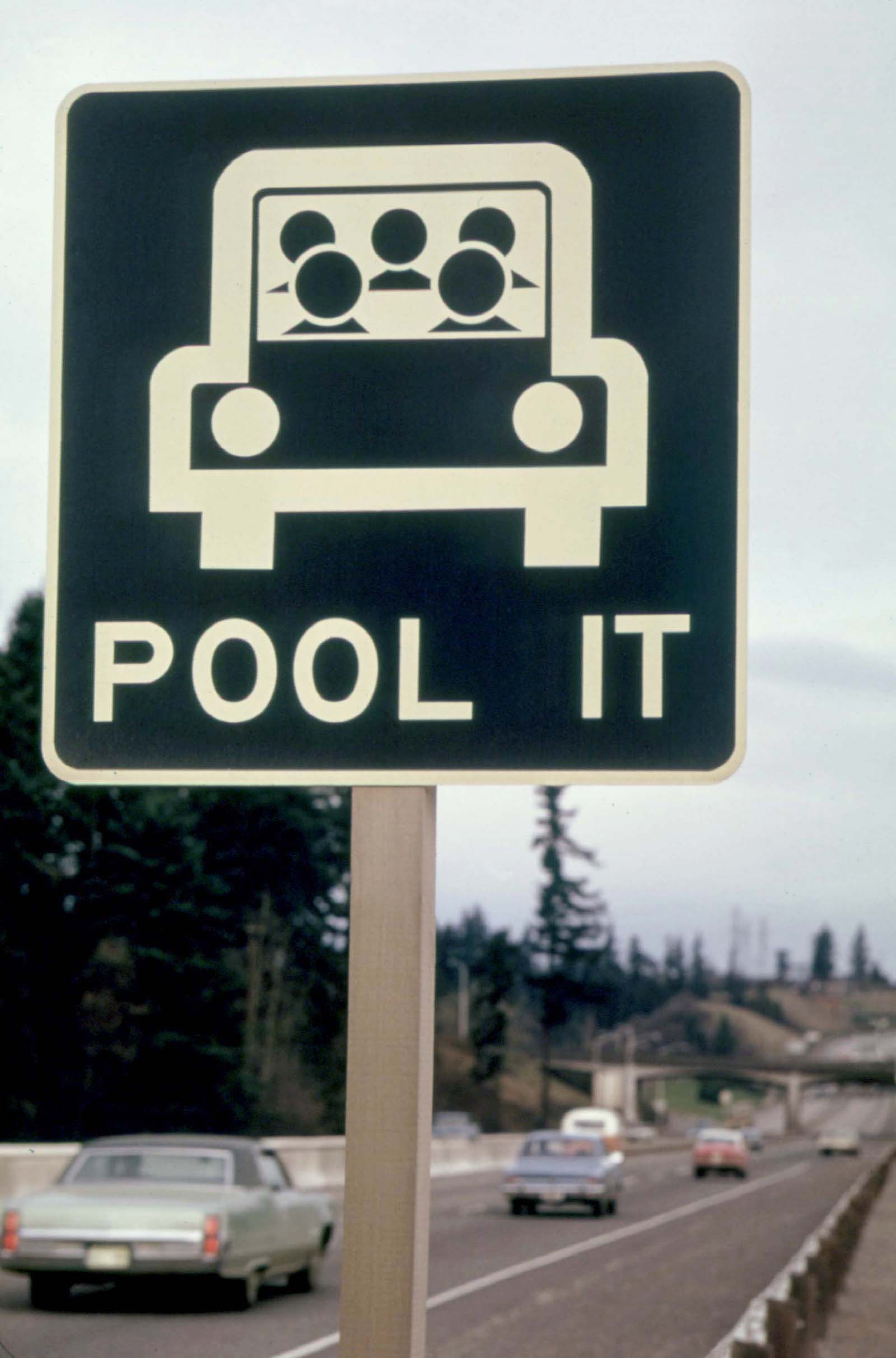 Carpooling sign in 1974 following the 1973 oil crisis