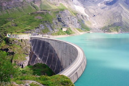 Concrete dam wall of the Kaprun power plant in the Salzburg Alps, Austria