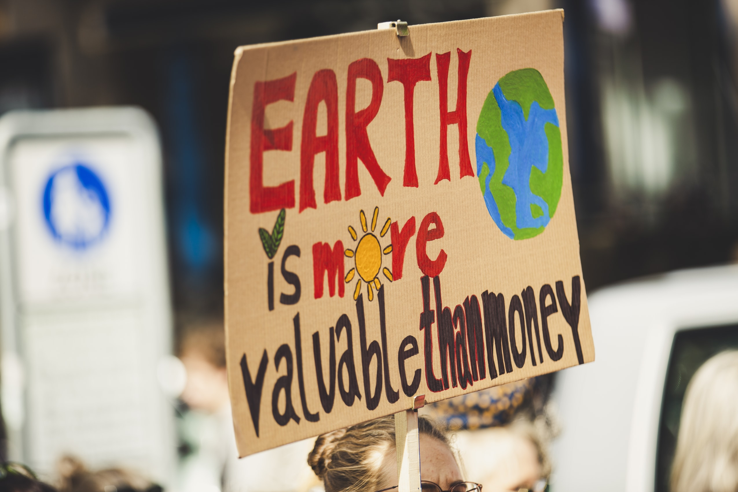 Earth is more valuable than money sign