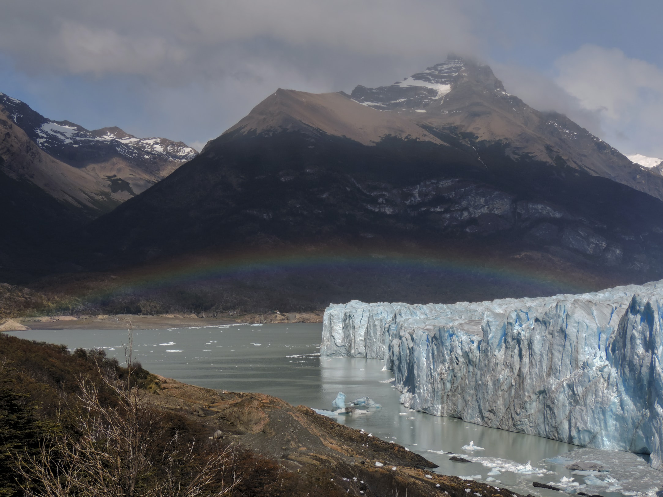 Glacier with rainbow