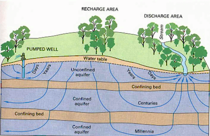 Flow times for different pathways in a typical aquifer system