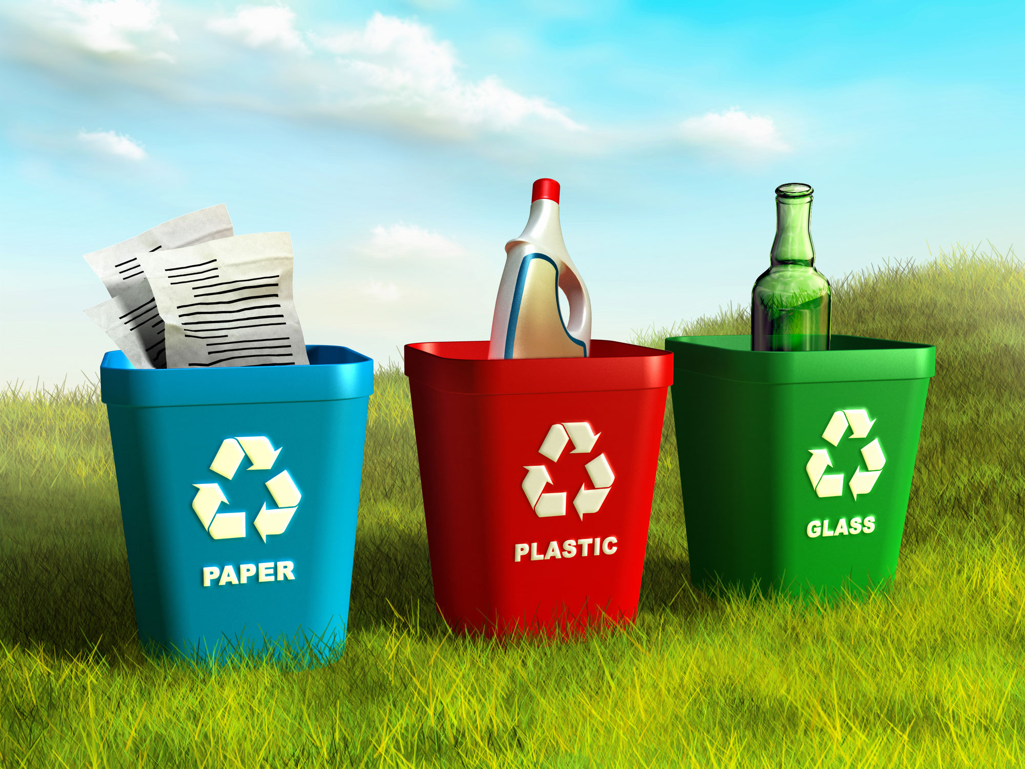 Recycling bins - paper, plastic and glass