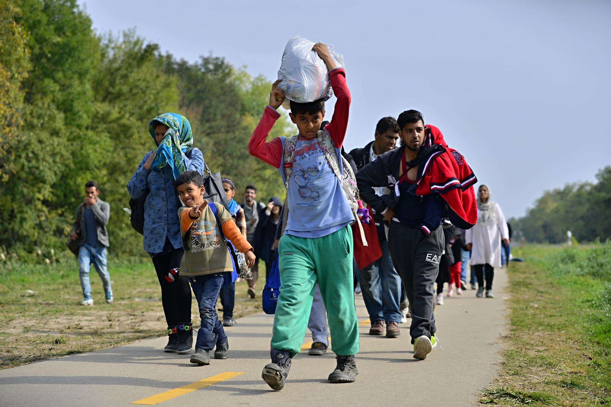Refugees on road