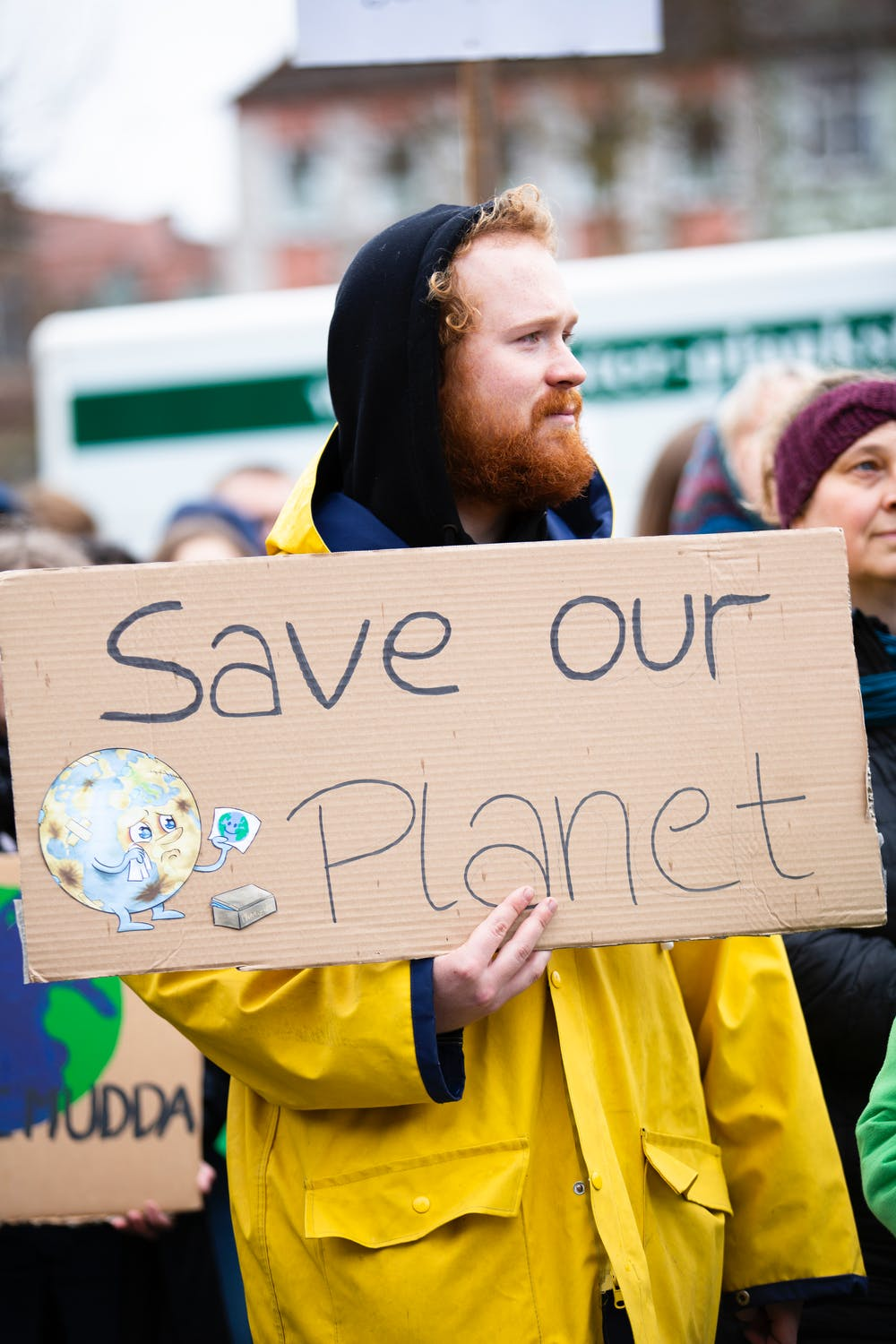 Save Our Planet Sign with Cartoon
