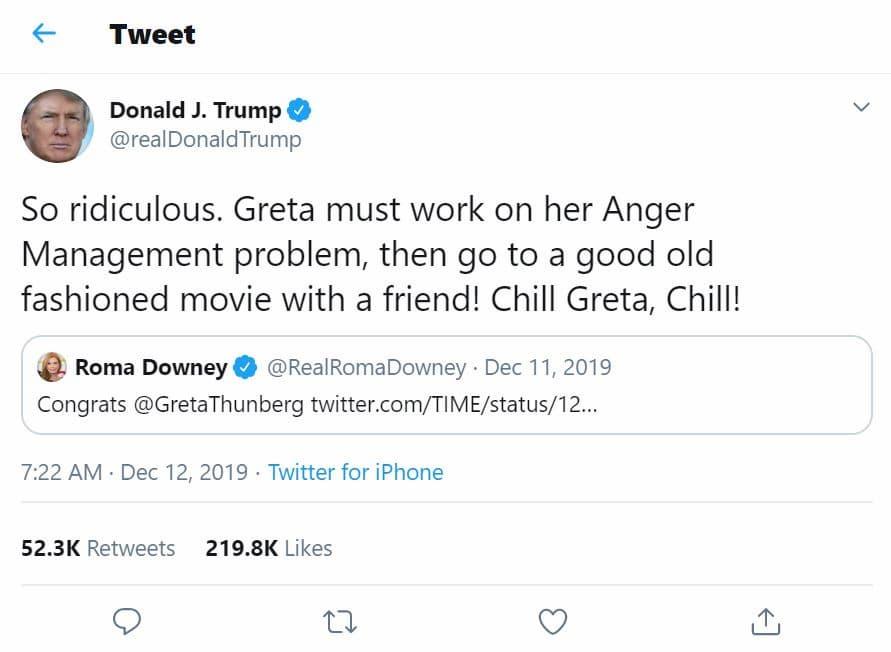 Donald Trump Tweets About Greta Thunberg