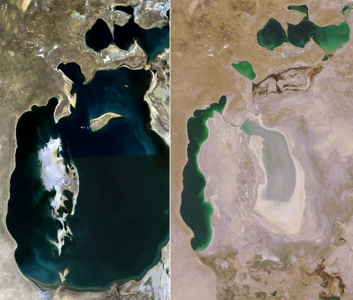 The Aral Sea in 1989 (left) and 2008 (right)