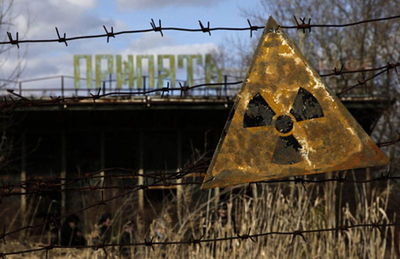 Radiation warning sign in Pripyat, an abandoned city near the Chernobyl plant