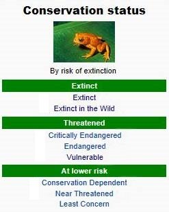 Conservation status by risk of extinction