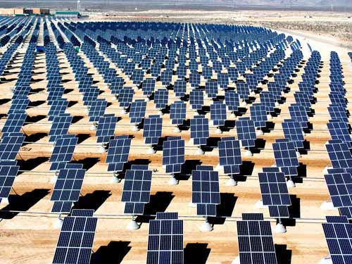 70,000 solar panels make up a giant solar photovoltaic array that will generate over 15 megawatts of solar power for the Nellis Air Force Base