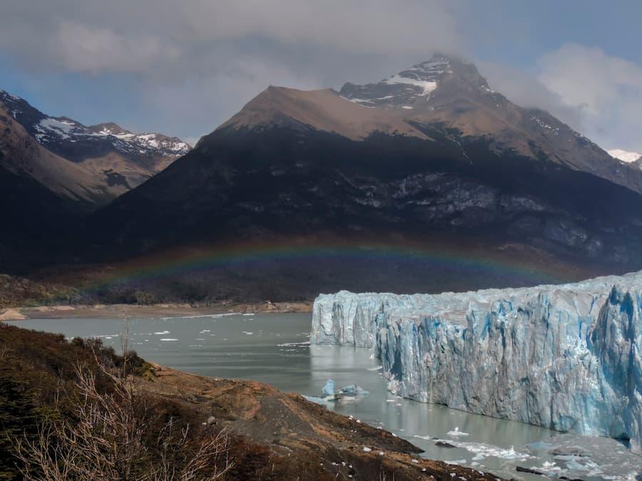 Glacier with rainbow