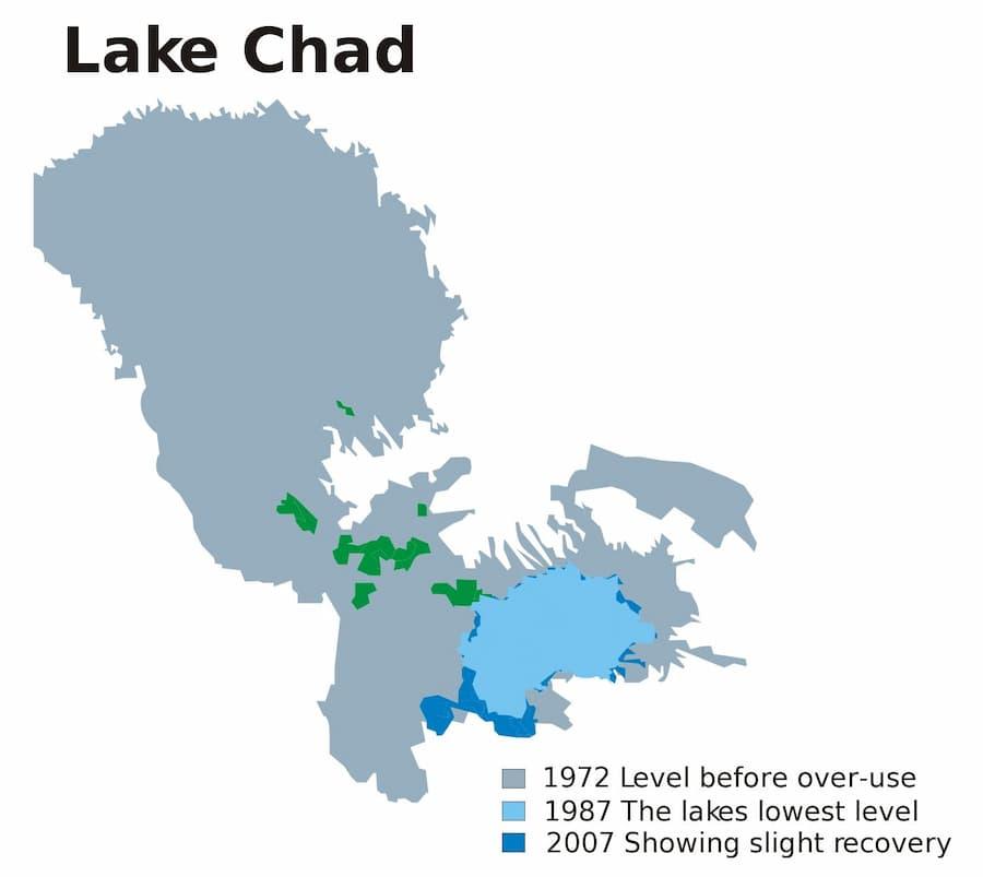 Lake Chad shrank by 95% since 1963