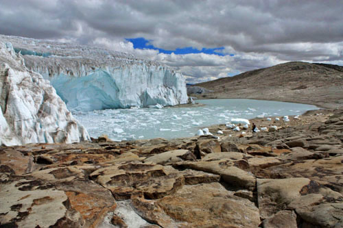 The Quelccaya Glacier in Peru is melting rapidly