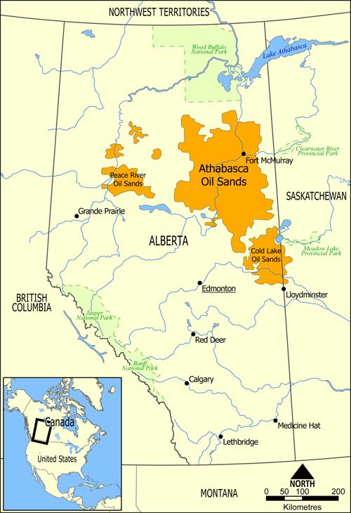 The tar sands cover an area larger than England