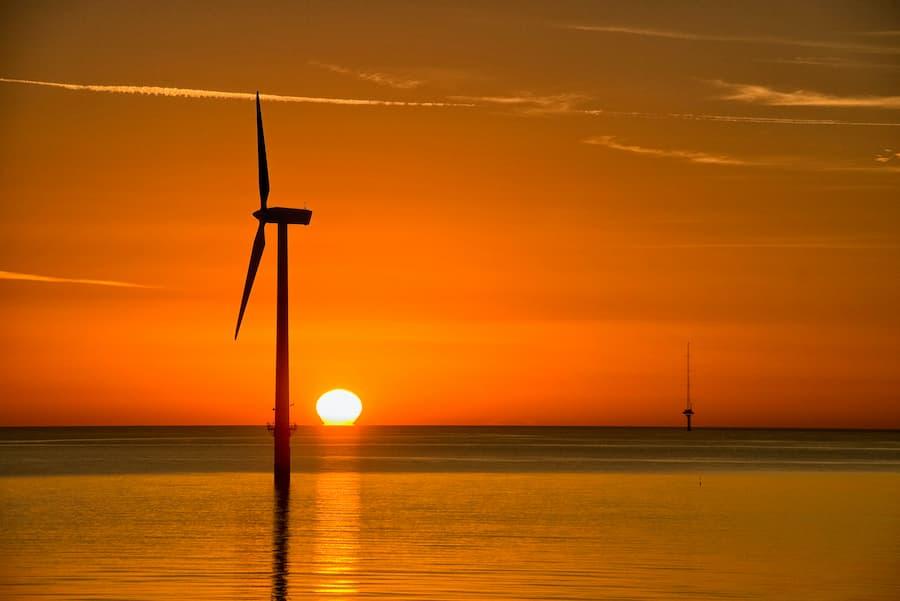 Wind turbine with sunset